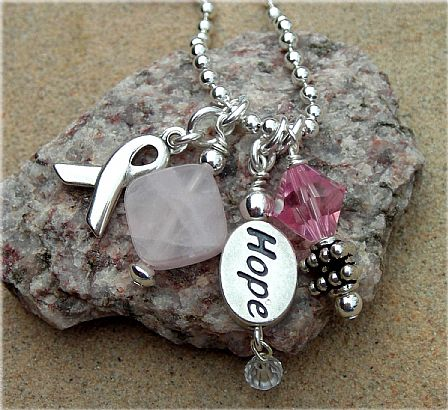 Breast Cancer Awareness Necklace-Hope For A Cure-S2BA.com