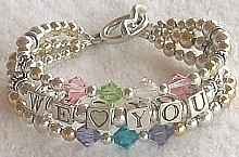 grandmothers triple strand birthstone name bracelet, grandmother's bracelets